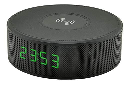 UNILUX 400095693 LALY Wireless Bluetooth Lautsprecher mit Digitaluhr, Qi Ladefunktion, AUX Eingang und Freisprechfunktion, Mini Stereo Lautsprecher Boxen 2 x 3W