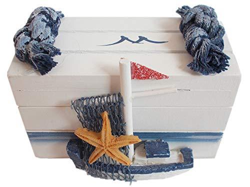 Unbekannt Maritime Schatulle mit Segelschiff und Tau - Holz-Kiste mit Dekoration - Blau Weiß 8,5 x 4,5 x 6 cm