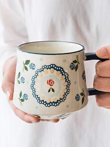 Liquor-lq Kaffeetasse Keramikbecher Kirschwasser Tasse Hause Paar Tasse Große Kapazität Kaffeetasse Frühstücksflocken Tasse@Kirschbauch Tasse
