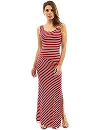 f70d9fe4612 PattyBoutik Mama Striped Scoop Neck Maternity Maxi Dress