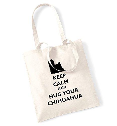 Keep calm and hug il chihuahua tote bag Natural