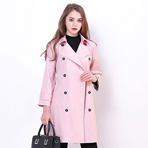 Xuanku Double-Breasted Trench-Coat-Cravate Slim Et Slim