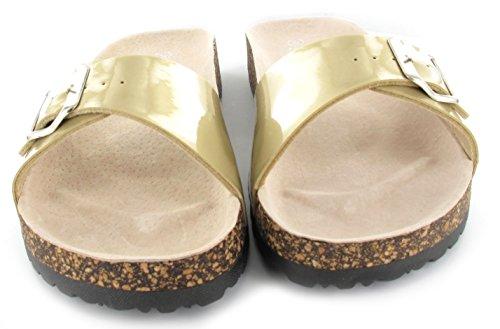 Damen Slip auf flachen Kork Sommer Sandalen Comfort Mule Flip Flops Gold