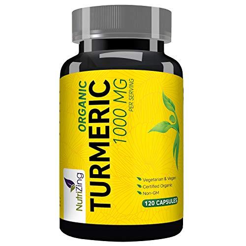 Organisches Kurkuma Supplement NutriZing ~ 120 schnell wirkende Kapseln ~ Enthält organischen Pfeffer zur Steigerung der Absorption ~ für Vegetarier und Veganer ~ 1000mg ~ Soja & Glutenfrei