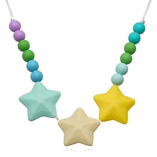 Epinki Baby Kette Lebensmittelechtes Silikon Zahnen Anhänger Halskette Geometrie Bunte Chewelry Mama Kette 80cm