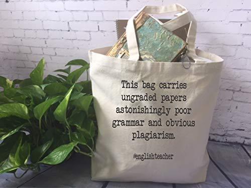 Funny Canvas Tote Bag, English Teacher Tote Bag, Teacher Gift, Teacher Tote Bag
