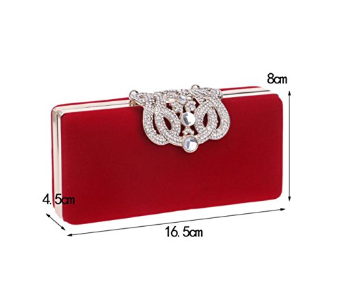 GSHGA Womens Clutch Bags Luxuriöse Diamanten Samt Crown Abendtasche Evening HandBag,Red Red