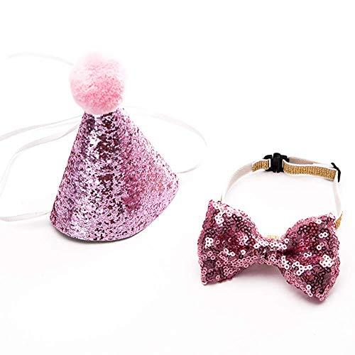 vap26 Haustier Hut Zubehör Liebenswert Kostüm mit Schleife Hund Haar Zubehör Katze Rollenspiel Bowknot (Rot) - Rosa (Rosa Haar Katze Kostüm)