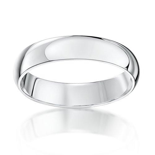 Theia Anneau de mariage unisexe - 9ct Or blanc, Forme Demi Bombée  extra lourde, poli Blanc