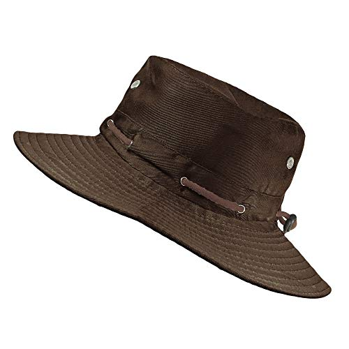 TOSKATOK® UPF 50+ Unisex Safari Outback Australischer Buschhut mit breiter Krempe, Kinnriemen, und Lüftungsschlitzen, aus Baumwollmischung
