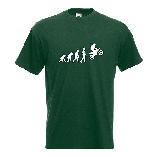 KIWISTAR - Evolution Motocross Motorrad T-Shirt in 15 verschiedenen Farben - Herren Funshirt bedruckt Design Sprüche Spruch Motive Oberteil Baumwolle Print Größe S M L XL XXL Flaschengruen