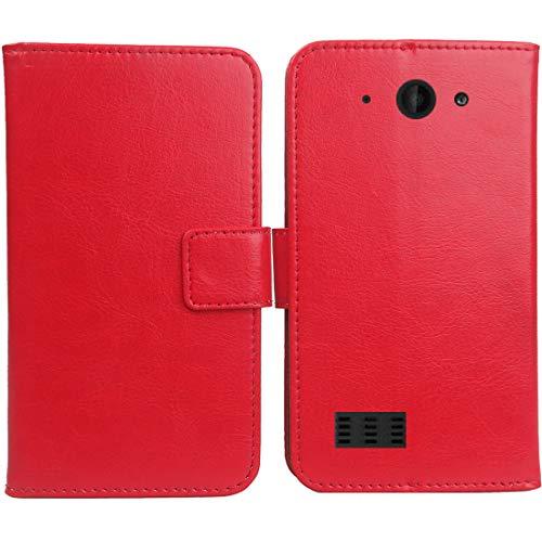 Gukas PU Leder Tasche Hülle Für Archos Saphir 50X 5 Handy Flip Design Brieftasche mit Karten Slots Schutz Protektiv Case Cover Etui Skin (Farbe: Rot)