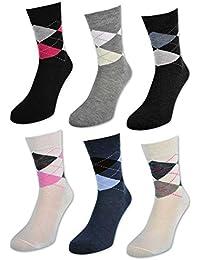 6 oder 12 Paar Damensocken ohne Gummi Baumwolle Karo Kariert Damen Socken - E-800 - sockenkauf24