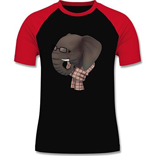 Hipster - Hipster Elefant - zweifarbiges Baseballshirt für Männer Schwarz/Rot