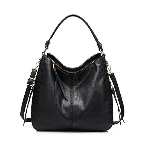 Handtaschen Damen Leder Umhängetasche Henkeltasche Designer Taschen Hobo Taschen groß Mit Quasten Schwarz