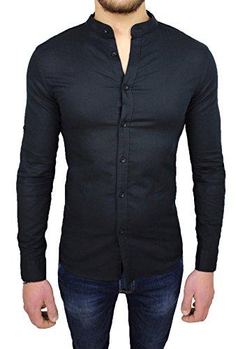 Camicia uomo sartoriale nera in lino slim fit casual elegante (l)