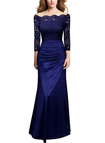 Miusol Damen Elegant Cocktailkleid Spitzen Vintage Kleid Off Schulter Brautjungfer Langes Abendkleid Dunkelblau Gr.S - 4