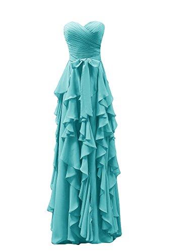 Bridal_Mall Damen Herzform Brautjungfernkleider Cascading Lang mit Schleife Chiffon Ballkleider Abendkleider Turkis