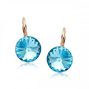 GoSparking Aquamarine Blue Crystal 18K Rose Gold Plated Alloy Pierced Earrings with Austrian Crystal For Women ER28298