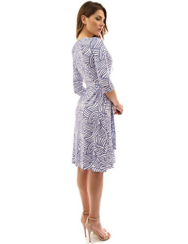 PattyBoutik femmes robe croisée manches 3/4 en col V à motif géométrique indigo et blanc