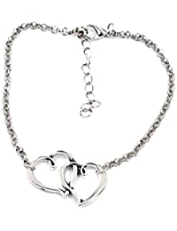 Ankle Bracelet Anklet Silver Plated Interlocking Heart Charm Delicate Fashion Jewelry For Women