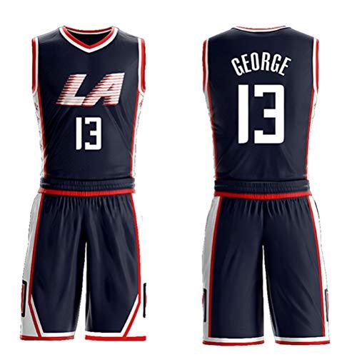 Morey, the Rockets, Jersey-Shorts Nr. 13 von Paul George für Kinder und Jugendliche, Los Angeles Clippers Nr. 13, ärmelloses Set, besticktes Basketball-Swingman-Jersey mit Mesh-Buchstaben-black-XS