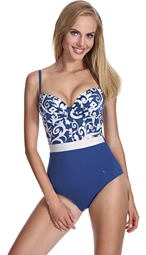 Feba Damen Push-Up Badeanzug SC1RL2T figurformend Muster-425