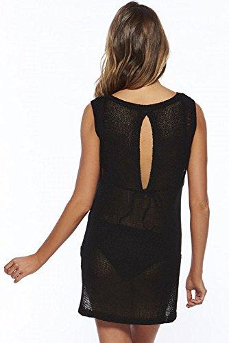 Toocool - Top copricostume donna tricot miniabito maglia trasparente nuovo DL-1640 Nero