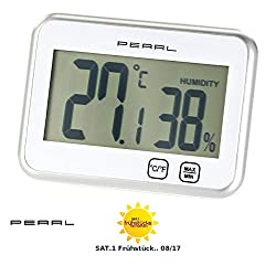 PEARL Raumthermometer: Digitales Thermometer & Hygrometer mit Minimum/Maximum, Touch (Digitales Raumthermometer)