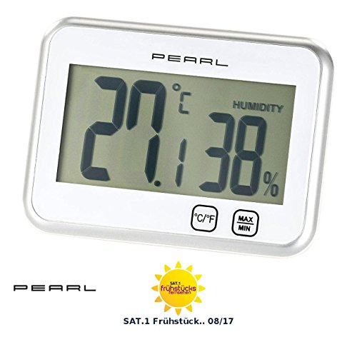 PEARL Zimmerthermometer: Digitales Thermometer & Hygrometer mit Minimum/Maximum, Touch (Digitale Thermometer Innen) Innen-luftfeuchtigkeit