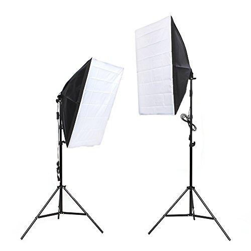 Mvpower Kit Illuminazione Di Luce Continua Per Studio Fotografico Con 2 x Softbox, 2 x Treppiedi 2M, 2 x Lampadina 135W A Risparmio Energetico