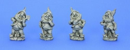 4 Gartenzwerg Figuren grau 16,5 cm - 17 cm Zwerg Gnome für Haus und Garten