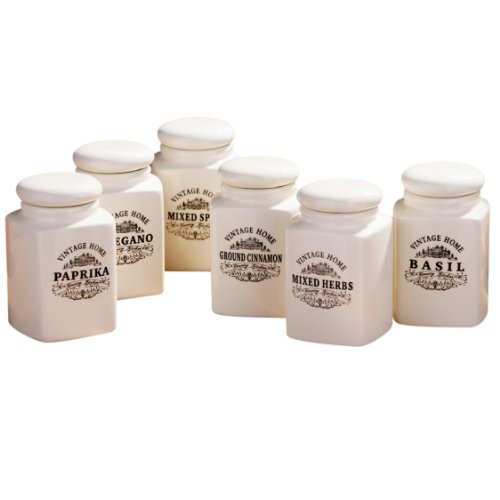 Premier Housewares - Botes de especias (6 unidades)  - gama vintage home - cerámica