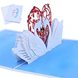 Jiamins-POP UP Grußkarten,Weihnachtskarte,Geburtstagskarten,Dankeskarten,Valentinstagskarte,Einladungsgrußkarte,3D Weiß Swan