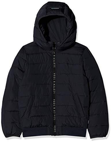 Scotch & Soda Jungen Hooded Padded Jacket in Jacquard Quality with Printed Zip Jacke, Mehrfarbig (Combo A 217), 140 (Herstellergröße: 10)