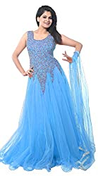 Clickedia Women's Net Gown Dress Material (Sky Blue Net Gown _Sky Blue_)