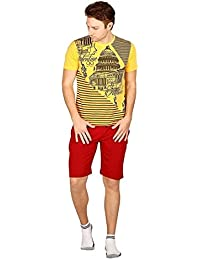 Nightwear For Men - Night Suit - Tshirt & Shorts Combo Set - Sinker Material - Yellow Color - Half Sleeves - Branded...