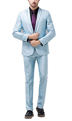 Tsui-Fashion Men's New Casual Vest Business One Button Suits XZ00170BL Light Blue