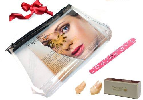 A-viva à ongles kit : Eco Lime à ongles + 4 faces Polissoir + Avion Voyage cosmétique Sac (Bundle de 3 pièces)