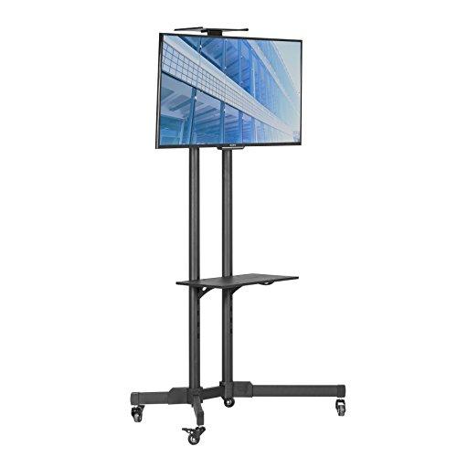 TV Trolley Ausstellung Display Bodenständer auf Rollen mit TV Halterung mit 2Einlegeböden für 81,3–165,1cm, LCD, LED, Plasma-Bildschirme,, mit Projektor Regal bis zu 50kg