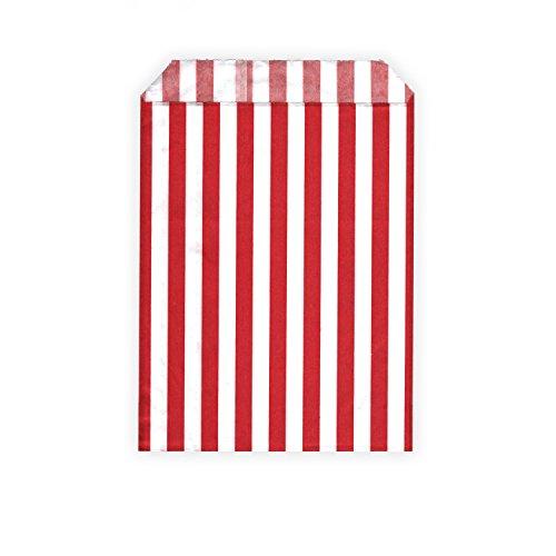 HouseholdBasics 50 Stück - Papierbeutel / Partytüten / Candy Bags - für Geschenke, Karten - verschiedene Größen und Muster (13 x 18 cm, rot / weiß (gestreift)) (Rote Und Weiße Papier-tüten)