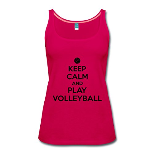 Spreadshirt Keep Calm Play Volleyball Frauen Premium Tank Top, 3XL, Dunkles Pink