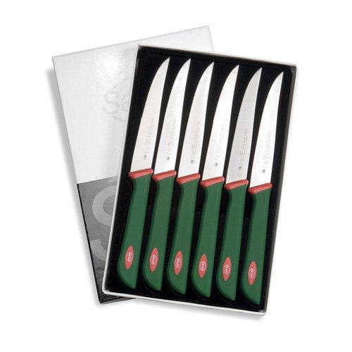 Sanelli premana professional confezione coltelli costata, acciaio inossidabile, verde/rosso, 25.5x15.5x2.0 cm, 6 unità