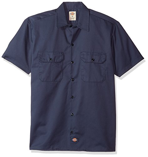 Dickies Herren Regular Fit Freizeit Hemd Shrt/S Work Shirt, Kurzarm, Blau (Navy Blue NV), Gr. Small (Herstellergröße: S)