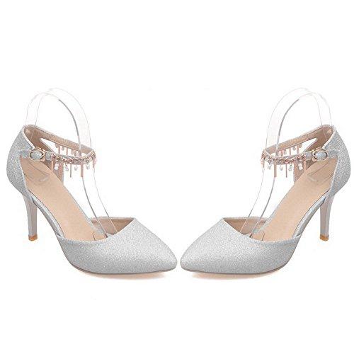 VogueZone009 Damen Stiletto Blend-Materialien Rein Schnalle Spitz Zehe Pumps Schuhe Silber