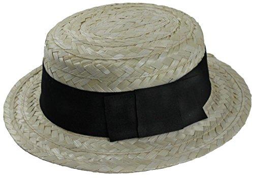 Erwachsene Canotier Stroh mit Hut schwarz Band Ref: 11348 (Matilda Kostüm)