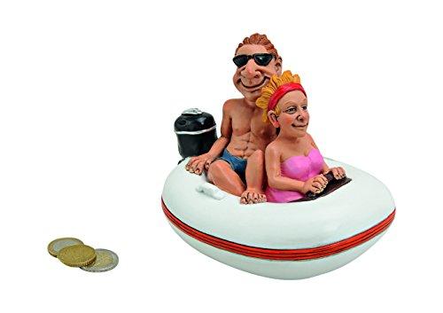 wunderschöne große Spardose,Sparbüchse Urlaubskasse Paar im Schlauchboot aus Polyresin
