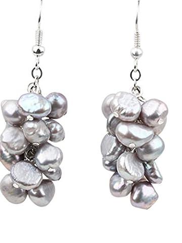 TreasureBay Elegant Black Fresh Water Pearl Grape Cluster Dangle Pierced Earrings (Silver Grey)
