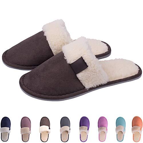 04e262905c48 TWINS Fashion « Riga » weich   warm gefütterte Damen Herren Nubuk  Hausschuhe I Slippers I Fleece I Plüsch - rutschfeste Pantoffeln Herbst    Winter (40 41, ...