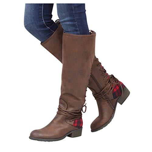 DNOQN Damen Lange Stiefel Mode Leopard Kreuz Krawatte Reißverschluss Booties Freizeit Schuhe Rot 38